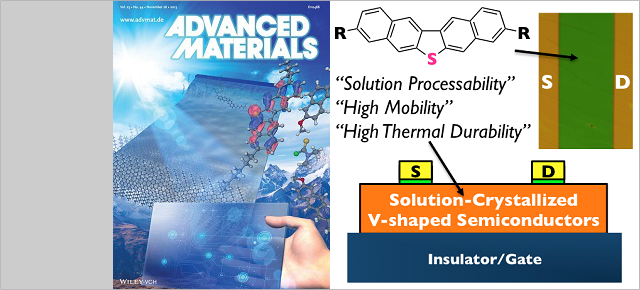 V-Shaped Organic Semiconductors With Solution Processability, High Mobility, and High Thermal Durability